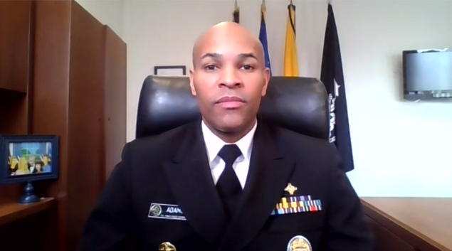 Vice Adm. Dr. Jerome Adams, Surgeon General speaks during a press briefing on Zoom Tuesday.
