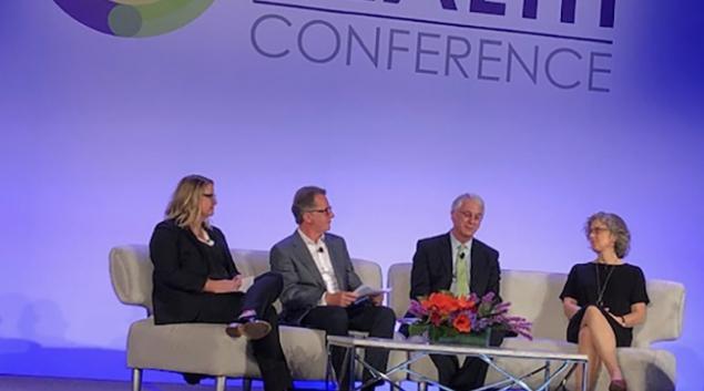 Debra Whitman of AARP, Joseph Kvedar of Partners Healthcare, moderator John Crawford and Louise Aronson, professor, UCSF, discuss aging at Connected Health.