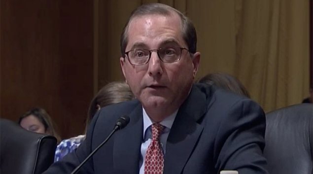 HHS nominee Alex Azar at the Senate Finance Committee meeting Tuesday. Credit: C-span