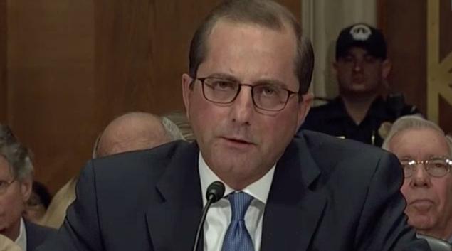 HHS Secretary nominee Alex Azar testifies before Senate on Wednesday. Credit: C-Span