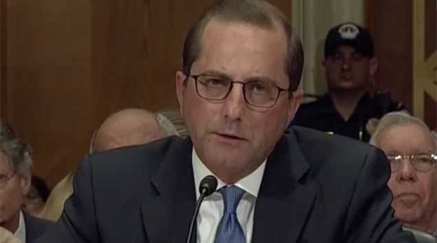HHS Secretary nominee Alex Azar testifies before Senate on Wednesday. Credit: C-Span