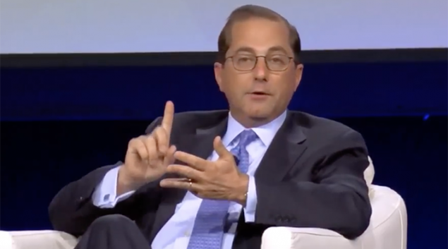 Azar previously served as deputy secretary at Health and Human Services under President George W. Bush. Credit: YouTube