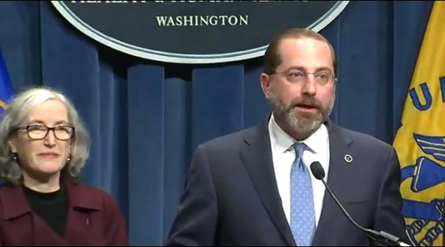 HHS Secretary Alex Azar holds a press conference on COVID-19 with other health officials, including CDC Deputy Director Dr. Anne Schuchat.