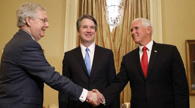 Judge Brett Kavanaugh (C) stands by as Senate Majority Leader Mitch McConnell (R-KY) (L) greets Vice President Mike Pence (R) before a meeting in McConnell's office. Photo by Chip Somodevilla/Getty Images
