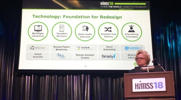 "Cognizant's Trish Birch speaking at HIMSS18 about redesigning patient care to address the shift towards value-based care. Credit: Cognizant on <a href=""https://twitter.com/Cognizant/status/971762483487584256"" target=""_blank"">Twitter</a>"