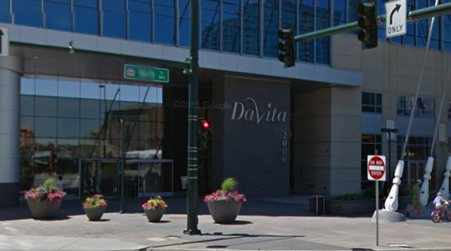 "DaVita HealthCare Partners headquarters-Denver, CO. Photo by <a href=""https://www.google.com/maps/@39.7539831,-105.0033687,3a,75y,262.23h,90.66t/data=!3m6!1e1!3m4!1sdibXIpdrayVdxzEnOo0hiw!2e0!7i13312!8i6656!6m1!1e1?hl=en""> Google </a>"