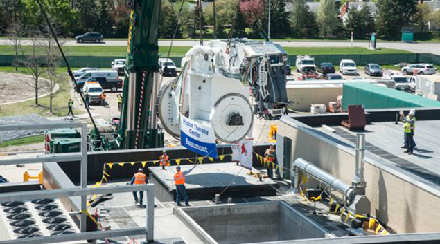 The Proteus One Gantry system being installed at the Beaumont Hospital in Royal Oak, Michigan. (Twitter photo)