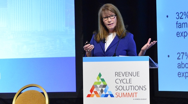Gerilynn Sevenikar speaking at the Revenue Cycle Solutions Summit during HIMSS18 on Monday.