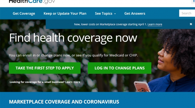 Screenshot of Healthcare.gov website