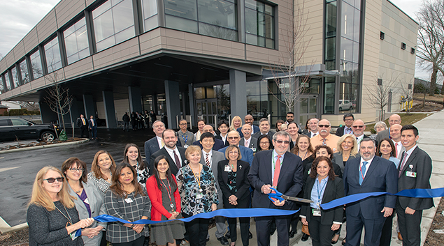 Michael Dowling with the Northwell Health Labs team at the opening of a $47.7 million shared, centralized laboratory in Little Neck, Queens. Credit Northwell Health.