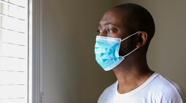 Patient wearing mask