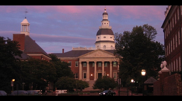 "Image of Maryland State House from <a href=""https://commons.wikimedia.org/wiki/File:2006_09_19_-_Annapolis_-_Sunset_over_State_House.JPG"">Wikipedia</a>."