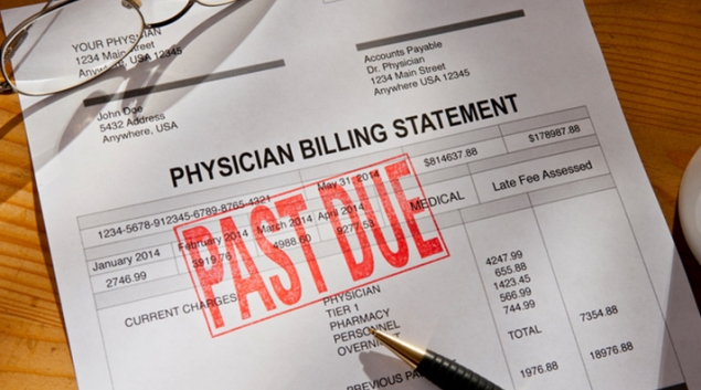 Medical bill marked with past due stamp
