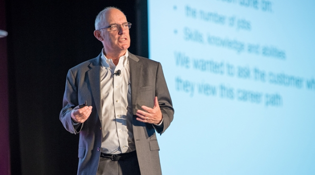 Michael Kaiser, Executive Director of the National Cyber Security Alliance, spoke at the HIMSS Security Forum in Boston on Wednesday.
