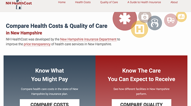 New Hampshire's price transparency website.
