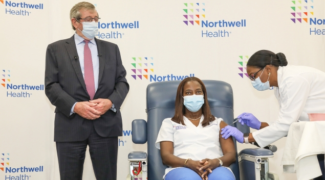 Sandra Lindsay, a critical care nurse at Long Island Jewish Medical Center, receives the first Pfizer-BioNTech vaccine in the U.S. on Dec. 14. (Photo courtesy Northwell Health)