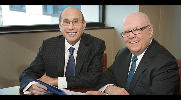 Barry H. Ostrowsky, President and Chief Executive Officer for RWJBarnabas Health, sits with Stephen K. Jones, Chief Academic Officer for RWJBarnabas Health, after announcing the launch of the new partnership.