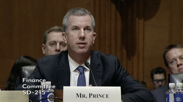 John Prince, CEO of OptumRx, addresses the Senate Finance Committee on Tuesday.