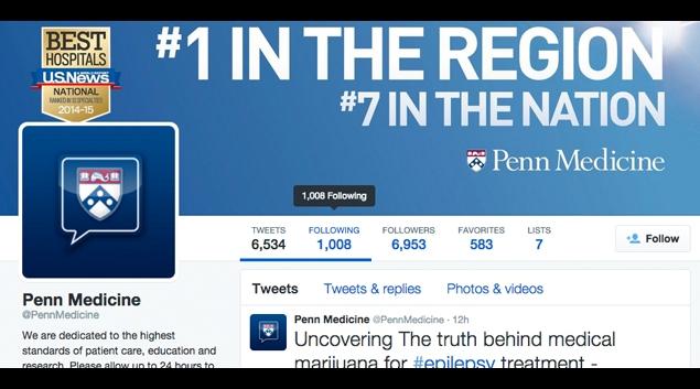 """Screen shot from the <a href=""""http://www.twitter.com/PennMedicine"""">@PennMedicine</a> Twitter account."""