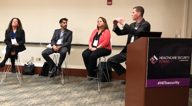 From left: Anahi Santiago of Christiana Care Health System, Omar Khawaja of HM Health Solutions, Denise Anderson of H-ISAC and Brian Selfridge of Meditology Services discuss risk management at the Healthcare Security Forum in Boston.