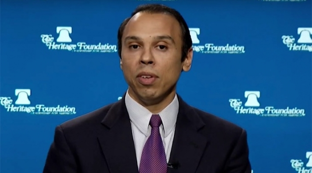 Roger Severino speaking during an interview as a staff member from the Heritage Foundation in 2015.