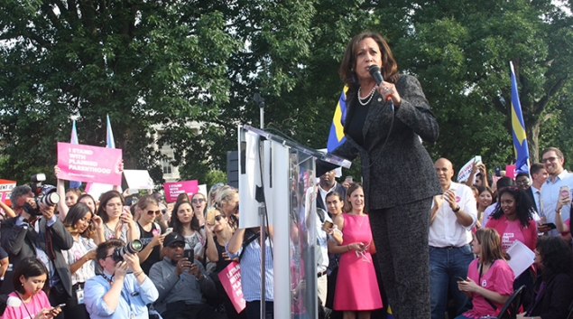 "California Senator Kamala Harris outside the U.S. Capitol on Wednesday at a rally of supporters against the GOP's healthcare bill. ""This bill is nothing short of a disaster, and it's no wonder they did it in secret."" Photo via <a href=""https://twitter.com/KamalaHarris/status/880194720995188736"" target=""_blank"">Twitter</a>"