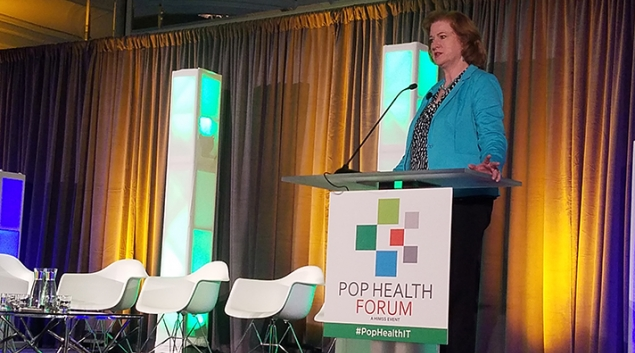 Susan Hawkins speaking at the HIMSS Pop Health Forum in Chicago on Monday.