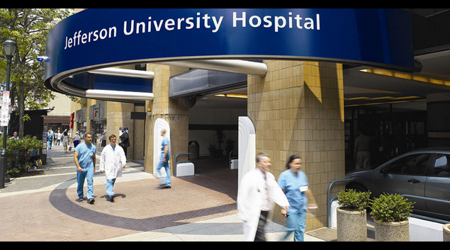 "Thomas Jefferson University Hospital photo by Andy Gradel via <a href=""http://en.wikipedia.org/wiki/Thomas_Jefferson_University_Hospital#/media/File:Thomas_Jefferson_University_Hospital_in_Philadelphia.jpg"">Wikipedia</a>"