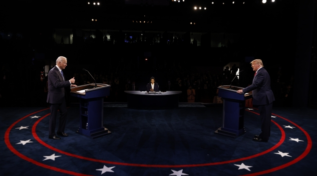 President Donald Trump and former Vice President Joe Biden face off in the final debate before the 2020 election. (Photo by Jim Bourg-Pool/Getty Images)