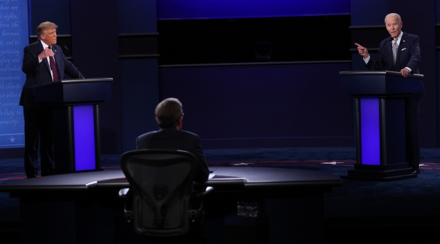 President Donald Trump and former Vice President Joe Biden square off in the first Presidential Debate of 2020. (Photo by Scott Olson/Getty Images)