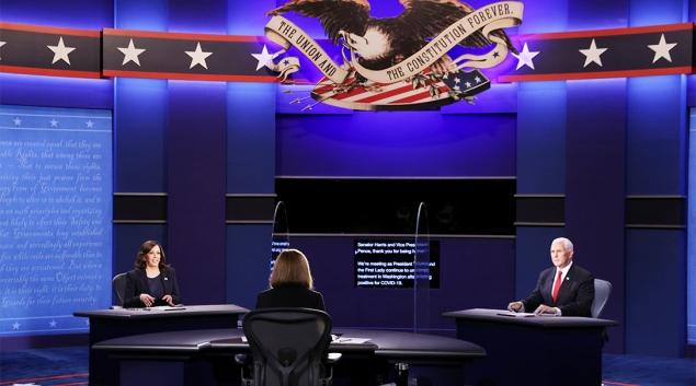 Senator Kamala Harris and Vice President Mike Pence debate Wednesday at the University of Utah. (Getty photo by Alex Wong)