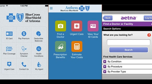 Screenshots of the iOS mobile apps for three major insurers. (Credit: Apple)