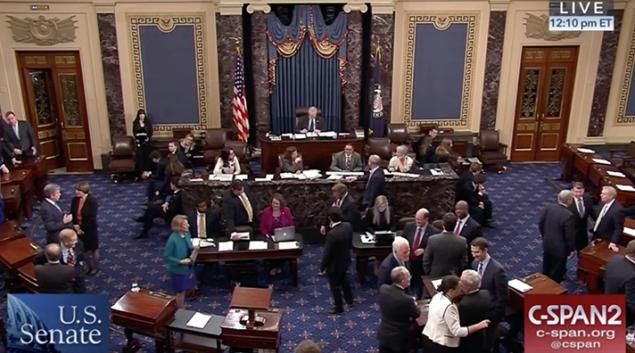 Debate on the Senate floor on Jan. 22. Credit: C-span
