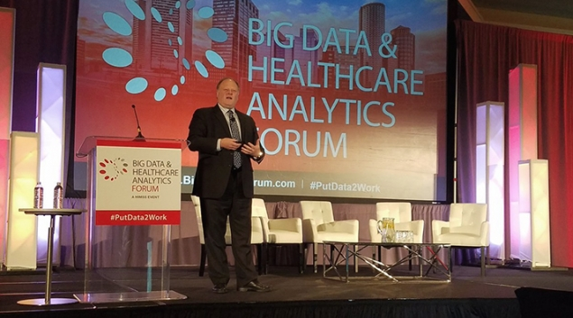 HIMSS CEO Hal Wolf speaking at the Big Data and Healthcare Analytics Forum in Boston on Monday.