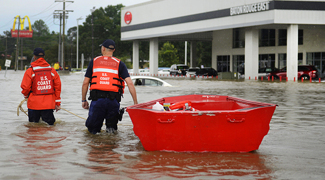 Coast Guardsmen use a flat-bottom boat to assist residents during severe flooding around Baton Rouge, LA on Aug. 14, 2016. Coast Guard photo by Petty Officer 3rd Class Brandon Giles (Wikipedia)