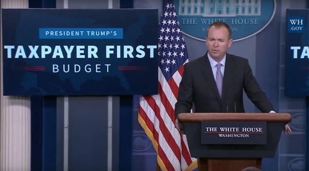 "Mick Mulvaney, Office of Management and Budget Director, <a href=""https://www.youtube.com/watch?v=gv59kslJdVA"" target=""_new"">speaking to reporters Tuesday</a> at the White House about the FY18 budget."