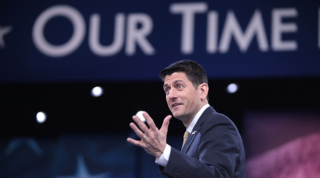 """House Majority Leader Paul Ryan (photo by <a href=""""https://www.flickr.com/photos/gageskidmore/25483445521"""">Gage Skidmore</a>)"""