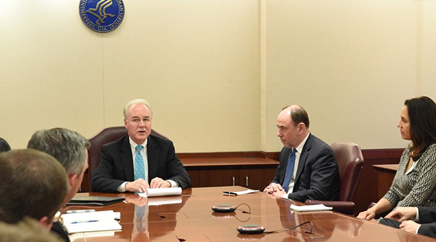 HHS Secretary Tom Price discusses healthcare policy with industry thought leaders. (via Twitter)