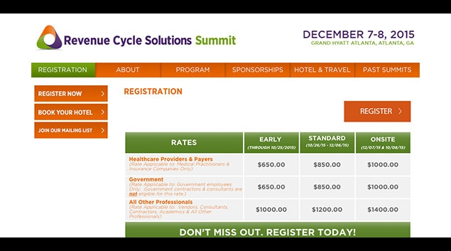 "Image via <a href=""http://www.revenuecyclesolutionssummit.com/registration?utm_source=hfn&utm_medium=news&utm_term=text_link&utm_content=register&utm_campaign=general"">revenuecyclesolutionssummit.com</a>"