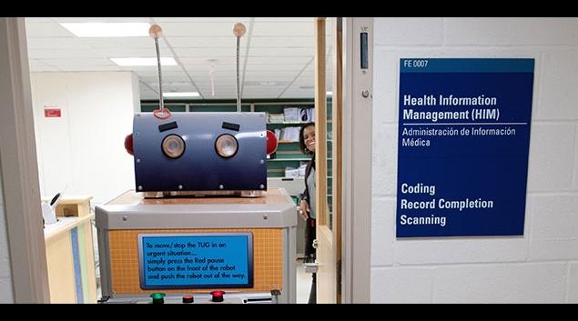 "A ""Tug"" food service robot at Boston Children's Hospital <em>(BCH photo)</em>"