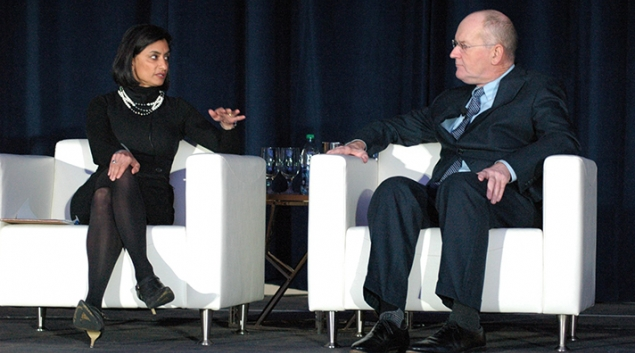 "CMS Administrator Seema Verma discusses policy and regulation issues with ONC chief Donald Rucker, MD, at the Office of the National Coordinator for Health IT's annual meeting on Friday. Credit: <a href=""https://twitter.com/ONC_HealthIT/status/936618149692235776"" target=""_blank"">Twitter</a>"