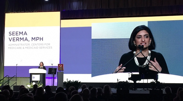 """CMS Admin Seema Verma speaking at the American Academy of Ophthalmology annual meeting on Nov. 12. Credit: <a href=""""https://twitter.com/SeemaCMS/status/929732752756310016"""" target=""""_blank"""">Twitter</a>"""