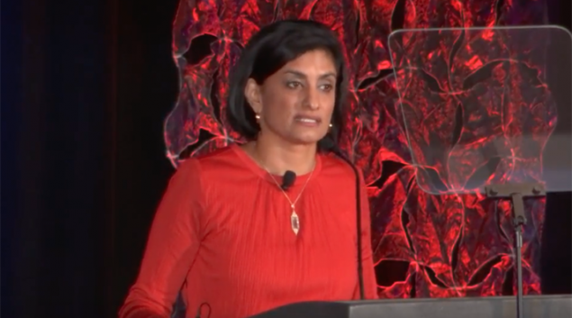 "CMS Administrator Seema Verma speaking at the Nov. 8 NAMD event. Credit: <a href=""https://www.youtube.com/watch?v=CuWevnFtsQE"" target=""_blank"">YouTube</a>"