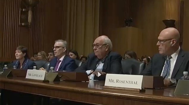 Healthcare experts testifying at the Senate Finance Committee's Chronic Health Conditions hearing  (from left): Katherine Hayes, Bipartisan Policy Center; Dr. Lee Schwamm, MGH Stroke Services; John Lovelace, UPMC For You; Stephen Rosenthal, Montefiore Health System