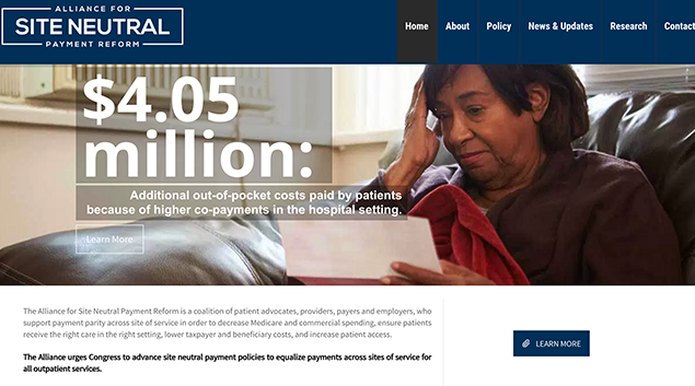 The Alliance for Site Neutral Payment Reform's new advocacy site.