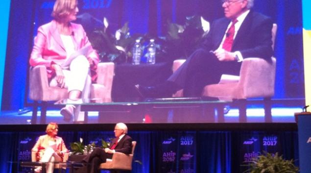 AHIP CEO Marilyn Tavenner and Anthem CEO Joe Swedish, in Austin.