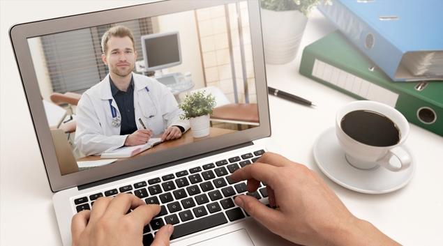 Telehealth consultation on a laptop
