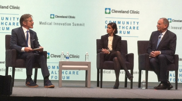 Geraldo Rivera, Seema Verma and Toby Cosgrove at the Medical Innovation Summit.