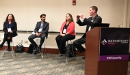 Anahi Santiago of Christiana Care Health System, Omar Khawaja of HM Health Solutions, Denise Anderson of H-ISAC and Brian Selfridge of Meditology Services discuss risk management during HIMSS' Healthcare Security Forum in Boston.