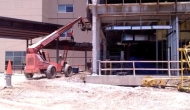 Crews work on a new patient tower at Texoma Medical Center.